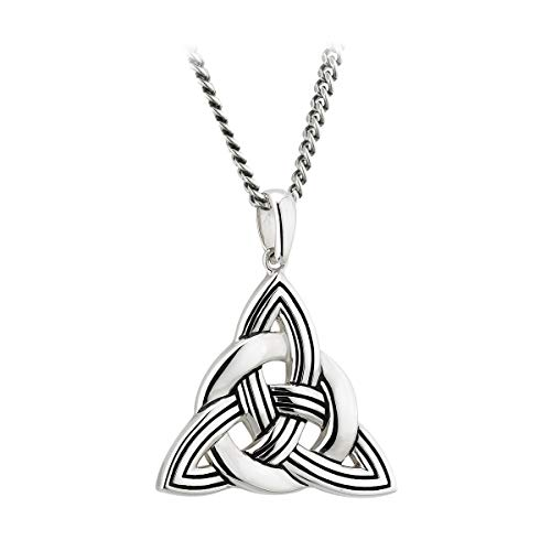 Womens Celtic Knot Necklace Heavy Sterling Silver Made in Ireland