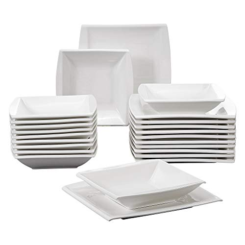 MALACASA, Serie Blance, CremeWeiß Porzellan Tafelservice 24 TLG. Set Kombiservice mit je 12 Speiseteller und 12 Suppenteller für 12 Personen