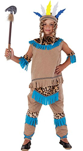 Magicoo Indianer Wilder Westen - Indianer Kostüm Kinder beige-blau Fasching Karneval - Indianer Kostüm Jungen (110/116)