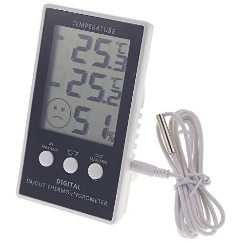 Max Min Thermometer mit Main Einheit Hygrometer–Indoor Outdoor mit 1m Kabel