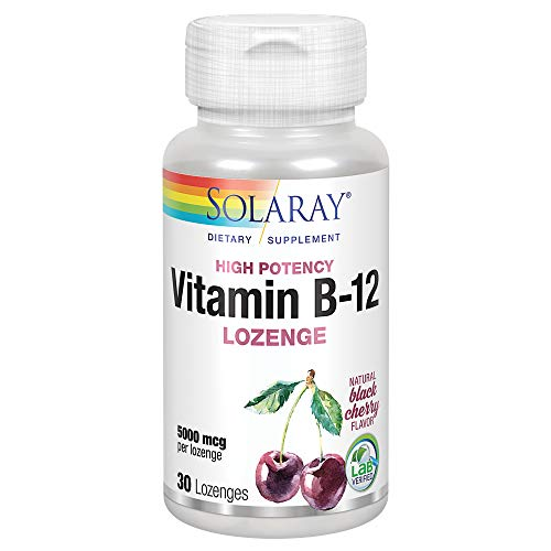 Solaray Vitamin B-12 5000mcg Lozenges | Natural Cherry Flavor | Healthy Energy & Nerve Function Support | 30ct, 30 Serv.