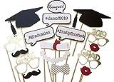 Losuya 2019 Graduation Photo Booth Puntelli 17pcs Occhiali Moustache Red Lips Papillon su Bastoncini per Decorazioni per Feste Grad