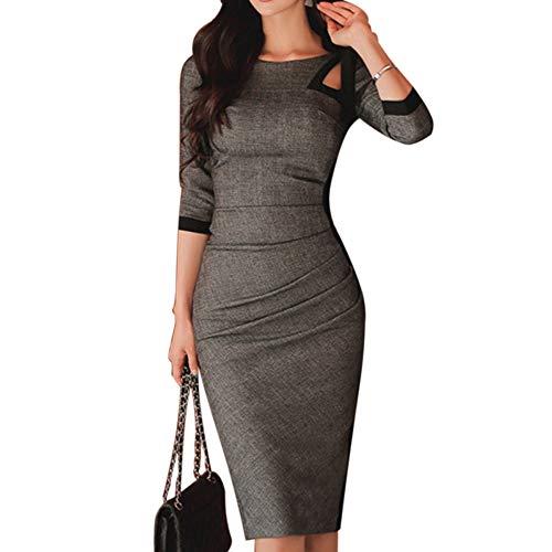 Damenkleid Europäisch und Amerikanisch Langarm Einfarbig Slim Fashion Classic Sexy Eng anliegender Midirock6X-Large