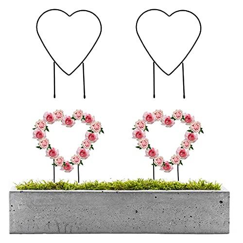 FUFRE 2er Set Garten Rankhilfe Metall Wetterfestes Klettergerüst Pflanzen, Rankhilfe Ranksäule Metall Rankkäfige für Kletterpflanzen und Blumen (Herzform)