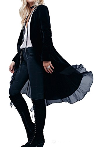 R.Vivimos Womens Ruffled Asymmetric Long Velvet Blazers Coat Casual Jackets XL Black