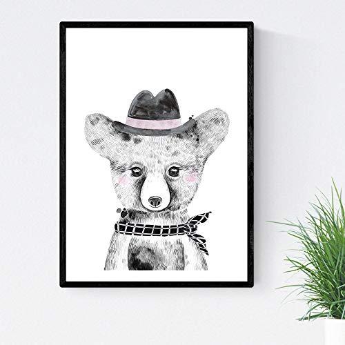Kinderfilm baby beer met muts en sjaal kinder dierenposter A4 formaat Unframed