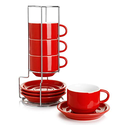 Sweese 406.404 Porcelain Stackable Cappuccino Cups with Saucers and Metal Stand - 8 Ounce for Specialty Coffee Drinks, Cappuccino, Latte, Americano and Tea - Set of 4, Red