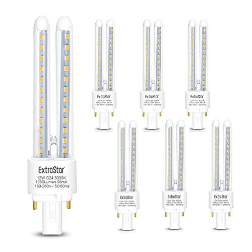 Pack de 6 Bombillas LED PLC Tubo 2U,12W Equivalente a 96W, Maiz G24, 1080Lm, Blanco Cálido 3000K, No regulable