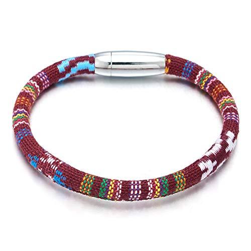COOLSTEELANDBEYOND Rojo Tribal Arte Popular Etnico Pulsera, Hombre Mujer Niños Pulsera del Abrigo con Cierre Magnético