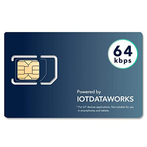 IoTDataWorks Unlimited IoT Sim Card w/ 12 Month Prepaid Service | No Contract, Limits | 64kbps | CAT1, 4G LTE/3G/2G | No Voice/SMS/Streaming | USA