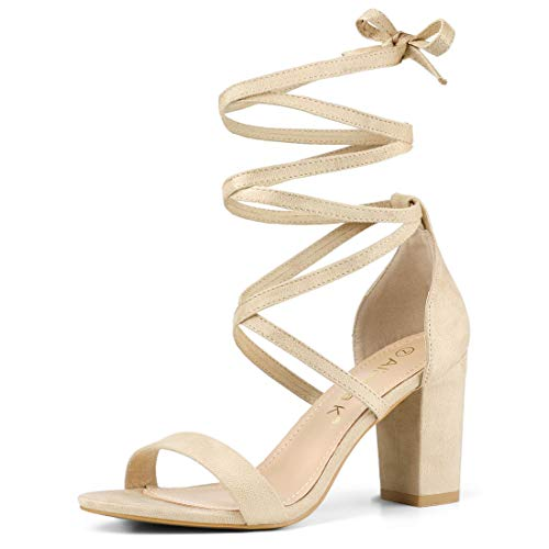 Allegra K Damen Peep Toe Lace Up Blockabsatz High Heels Sandalen Beige 38