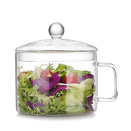 Tazón de Vidrio, Cuenco de Ensalada / Cuenco de Fruta / Tazones para Mezclar / Tazón de Sopa de Ramen con Tapa y Agarre, Vidrio de Borosilicato, Apto para Microondas (B Style(1300 ML))