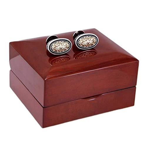 YYF Manschettenknöpfe in eleganter Geschenkbox, europäischer Retro-Stil, platiniert, für Herren, französische Hemden, leichte Manschette