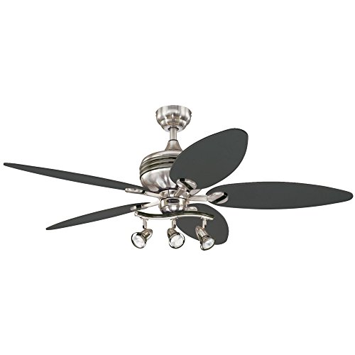 Westinghouse Lighting 7234220 Xavier II Indoor Ceiling Fan with Light, 52 Inch, Brushed Nickel W Gun