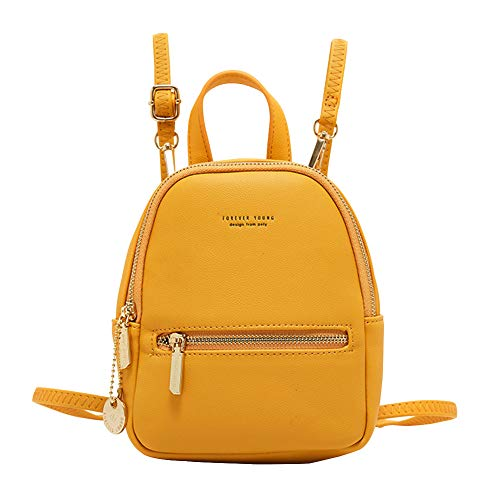 Aeeque Women Mini Backpack Purse, Casual Leather Crossbody Phone Bag Daypack Ladies Small Shoulder Bags, Gift Wallet for Girls Women Yellow
