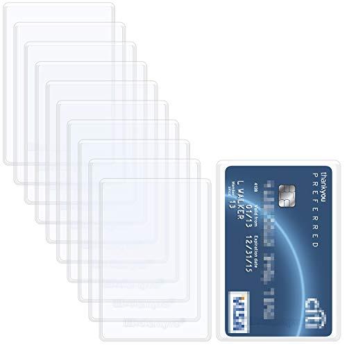 Wisdompro - Confezione da 10 custodie protettive per carte di credito, 6 mm, morbide e flessibili, in PVC, con scomparti per carte d'identità, carte di credito, carte di debito, patente di guida