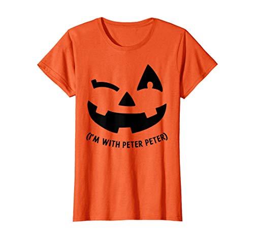 Womens Naughty Im With Peter Wink Pumpkin Matching Couple Halloween T-Shirt