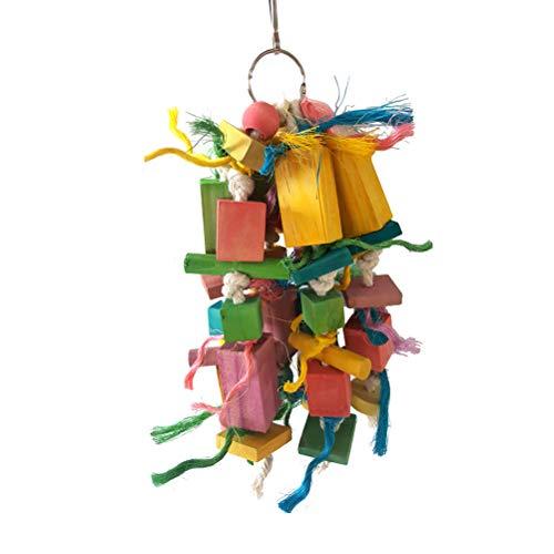 TEHAUX Morder Bird- Colorido loro masticando madera tronco pájaro juguete jaula accesorios flexible mordedura cadena colgante de madera para loros