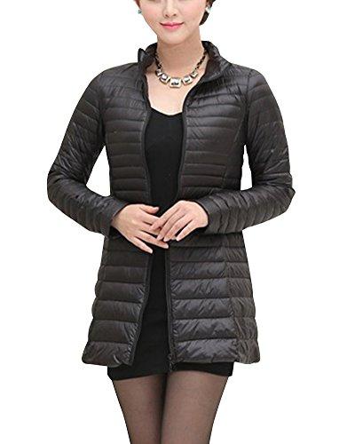 Damen Große Größen Mittellange Daunenjacke Leichte Verpackbare Bepackbare Steppjacke Schwarz L
