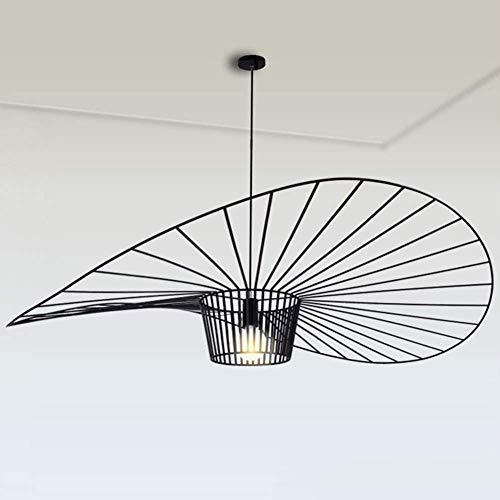 YUXN Suspension Vintage Salon Suspension Lampe Lustre Simple Creative (Hauteur De La Lumière Réglable), Conception De Chapeau De Fibre De Verre + Tissu De Fibre E27 Max 40W (Black, 120CM)