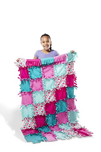 Melissa & Doug Created by Me! Heart Fleece Blanket No-Sew Craft Kit (40 Squares, 3.5 feet x 5 feet)