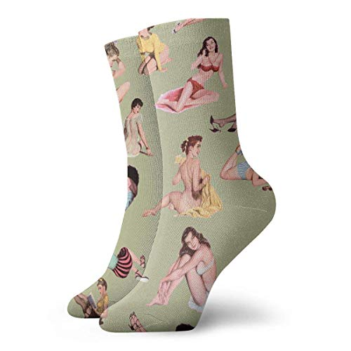 HJKAA Calcetines Hombres Mujer Pin Up Girl Comfortable Novelty Long Sock Crew Athletic Tube High Stockings Sport