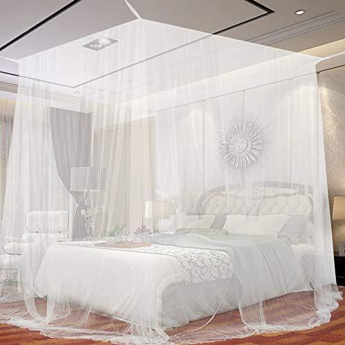 Moskitonetz für Einzel- und Doppelbett Fliegennetz Mückennetz Weiß Fliegengitter für Riese Indoor & Outdoor