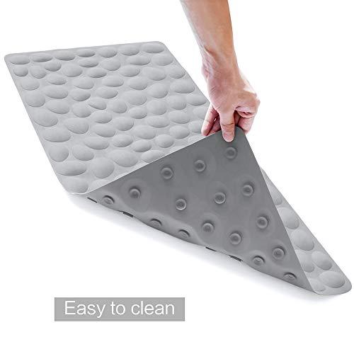 OTHWAY Non-Slip Bathtub Mat Soft Rubber Bathroom Bathmat with Strong Suction Cups (Grey)