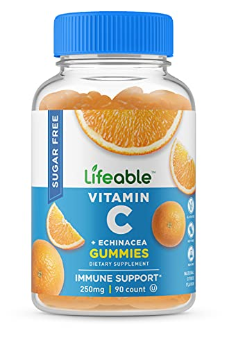 Lifeable Sugar Free Vitamin C for Adults – with Echinacea – Great Tasting Natural Flavor Gummy Supplement – Keto Friendly – Vegetarian GMO-Free Chewable Vitamins – for Immune Support – 90 Gummies