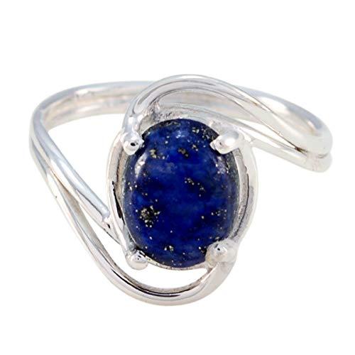 Joyas Plata echte Edelsteine ovale Form ein Stein Cabochon Lapislazuli Ring - Sterling Silber blau Lapislazuli Ring - Oktober Geburt Waage Astrologie echte Edelsteine Ring