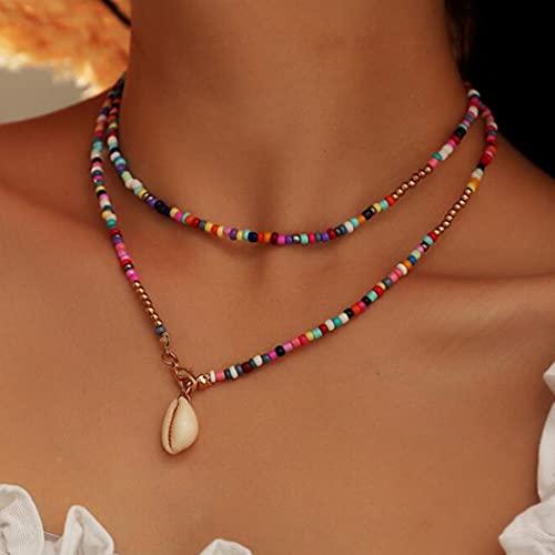 Aukmla - Collana girocollo in stile boho, con perline dorate, per donne e ragazze