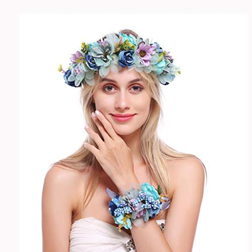 LYM Fleur Couronne Couronne Corolla Bandeau Mariage Femelle Festival Cheveux Accessoires (Couleur : A)