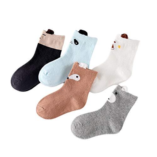 KESYOO 5 paar schapen vormige baby jongens sokken anti-slip knie hoge kousen cartoon dier katoenen sokken voor 9-12 jaar kinderen - maat XL