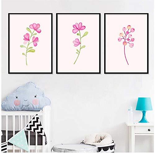 chtshjdtb Nette frische rosa Blume Pflanze high Definition Druck leinwand malerei Wohnzimmer Schlafzimmer malerei Garten dekor küche -50x70cmx3 stück kein Rahmen