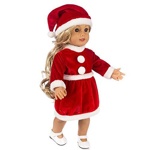 Artistic9 - Costume di Carnevale da Babbo Natale, da Bambina, con Mini Abito Rosso e Cappello, Completo Dress Up Outfit per maskerade, Halloween, Tema Natalizio