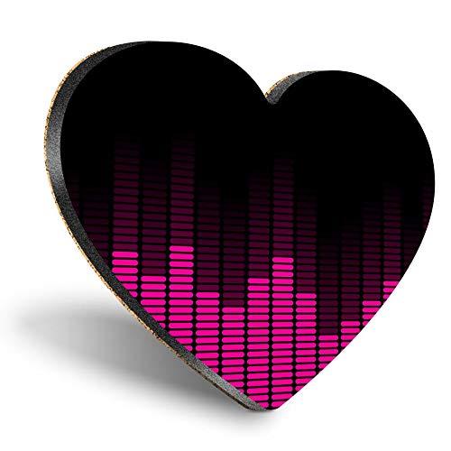 Posavasos con forma de corazón MDF, banda de ecualizador de música morada, posavasos de calidad brillante, protección de mesa para cualquier tipo de mesa #15846