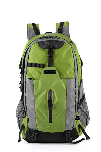 ELLINDO Large Waterproof 50L Hiking Backpack - Packable Lightweight Travel Backpack Daypack With Raincover (Green)