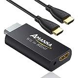 AMANKA Adaptateur HDMI Wii Convertisseur, Wii Hdmi Adaptateur Convertisseur vidéo Full HD 1080p...