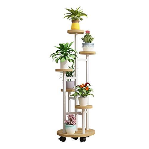 Hoge Bloemenstandaard met 6 lagen Balkon Mobiel Met Wiel Vloerstaande Plant Stand,2 Maten Bloemenstandaard HBY