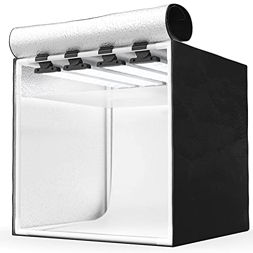 HAVOX - Fotostudio HPB-40XD - Maße 40x40x40cm - 4X Dimmbare LED-Beleuchtung Tageslicht 5500k - 26,000 Lumen - CRI 93 - Machen Sie Ihre kommerziellen Fotos...