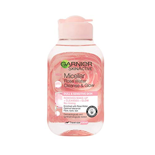 Garnier Micellar Rose Cleansing Water, Glow Boosting Face and Eye Make-Up Remover & Cleanser for Dull and Sensitive Skin 100 ml