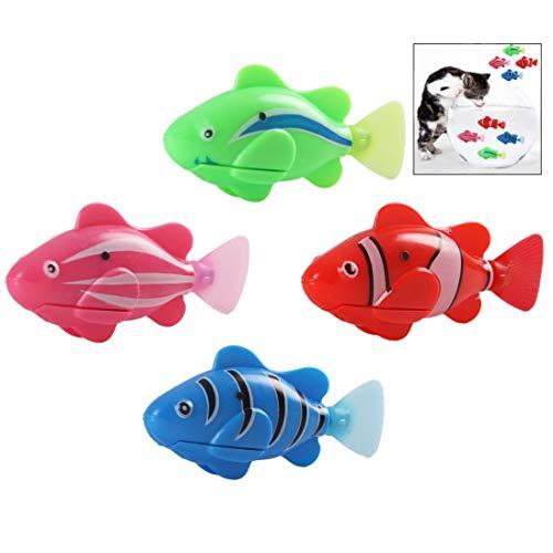 iwobi Giocattolo Gatto,4 pezzi Pesce Elettronico Gatto Interattivo Giocattolo Nuoto Pesce