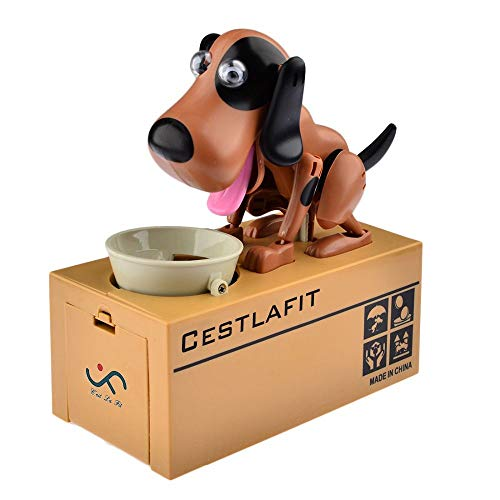Cestlafit Cute Choken Bako Cachorro Hambriento Comer Perro Coin Bank, Banco De Monedas Doggy, Perro Hucha, Moneda Munching Caja De Dinero De Juguete, Brown