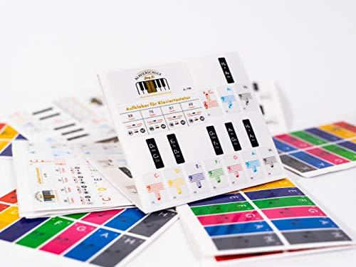 Premium Aufkleber für Klaviertasten | Klavier Aufkleber/Keyboard Aufkleber auf deutsch inkl. Anleitung + E-Book | weiße + schwarze Tasten [JL-T88] für 49/61 / 76/88 Tasten | Transparent