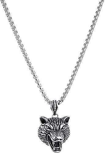 CAISHENY Collar de Acero de Titanio, Accesorios para Hombres, Collar con Colgante de Cabeza de Lobo de Acero Inoxidable, Regalo para Mujeres, niñas, niños, Collar