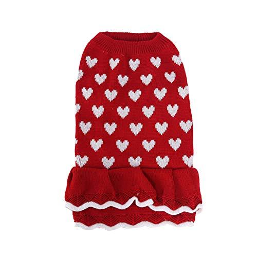 POPETPOP Haustier Weihnachtskostüm-Hund Herz Weihnachten Rock entzückende Neujahr Haustier Kleidung Hund Pullover Kleid Heimtierbedarf (Größe XS)