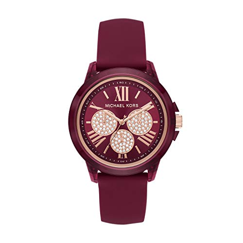 Michael Kors Women's Bradshaw Quartz Watch with Silicone Strap, Red, 20 (Model: MK6908)