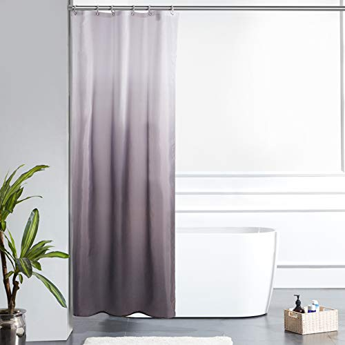 Furlinic Schmal Duschvorhang Badvorhang Textil aus Polyester Stoff Schimmelresistent Wasserabweisend Waschbar für Eck Dusche Kleine Badewanne Weiß nach Schwarz 90x180 mit 6 Duschringen.