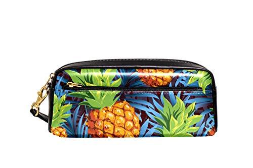 Trousse portable en cuir PU avec ananas, fruits tropicaux et feuilles de palmier pour l'école, les stylos, les crayons, les cosmétiques, le maquillage 20.5x5x8.5cm/8.1x2x3.3in Style01