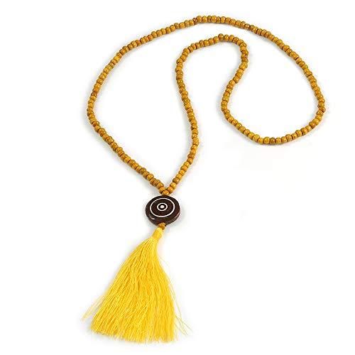 Avalaya Long Yellow Wood Bead Cotton Tassel Necklace - 90cm L/ 15cm Tassel
